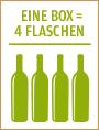 Vier Flaschen gleich eine Bag in Box